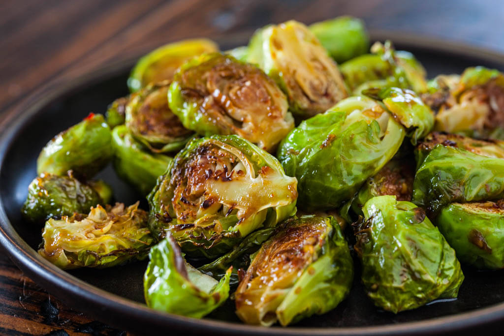 Ginger glazed Brussels Sprouts