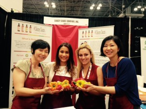 The Saucey Team posing with veggies! Liz, Cindy, Jessie & Toan
