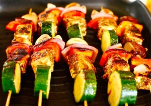Marinated pork and veggie kebabs with Saucey Sauce