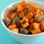 SAUCEY ROASTED SWEET POTATOES & SHALLOTS